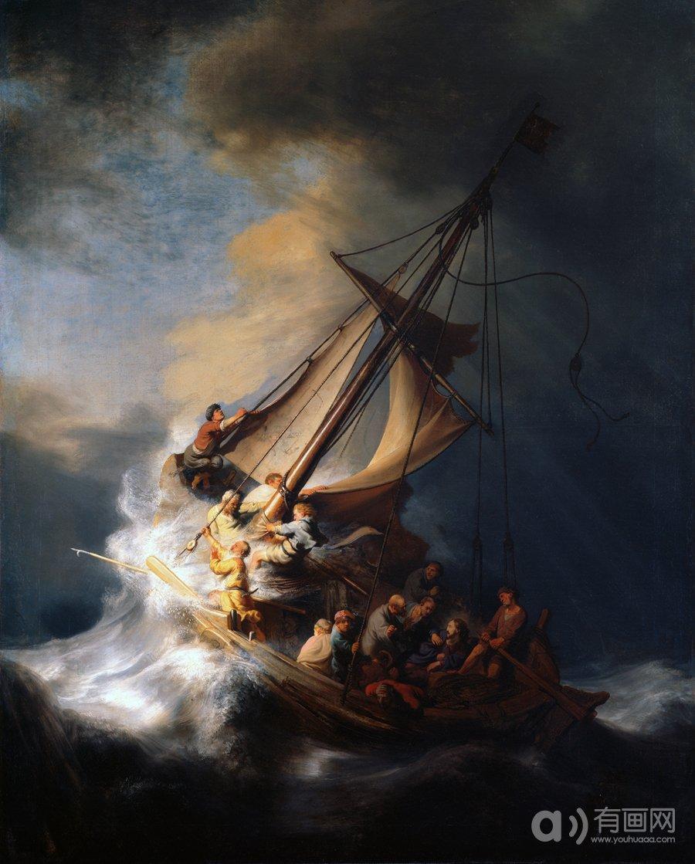 在加利利海上遇到风暴的基督,伦勃朗·梵·莱茵