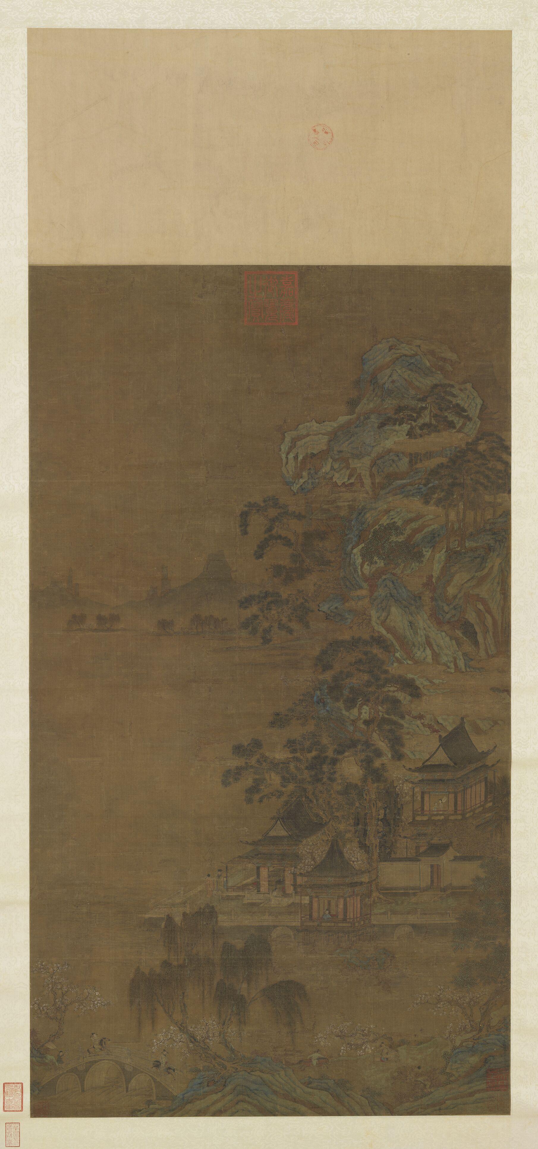 湖亭游骑轴 唐 李昭道 台北故宫博物院