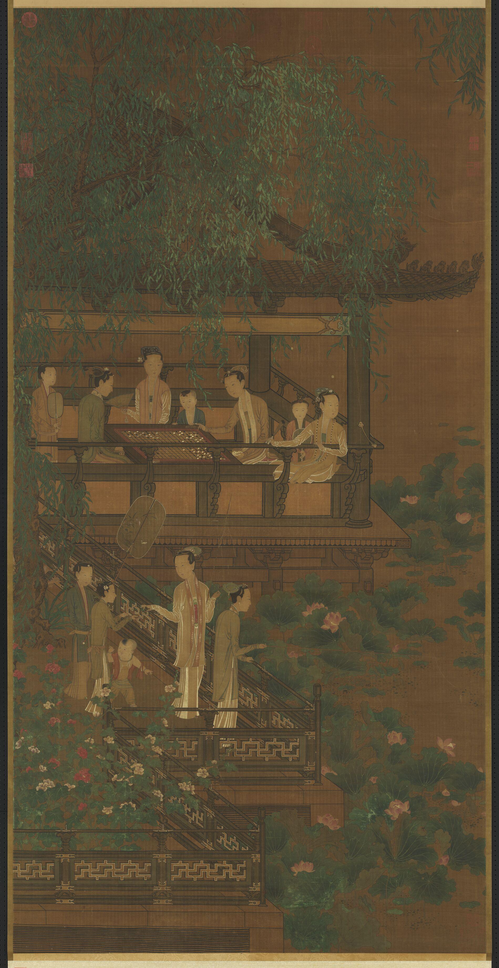 五代南唐荷亭奕钓仕女图轴 五代 周文矩 台北故宫博物院