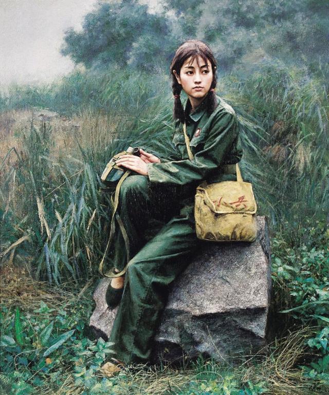 油画中那个年代的女孩真美,清纯素雅,英姿飒爽